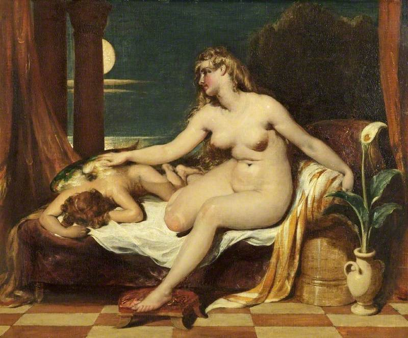 A naked woman attempts to wake a sleeping, naked, man