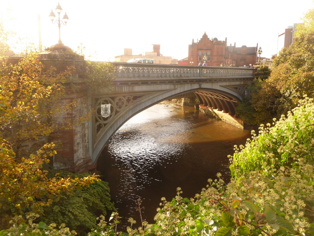 Glasgow: the River Kelvin under Partick Bridge Looking from Snow Bridge towards its replacement, 1539635, which was built in 1878.