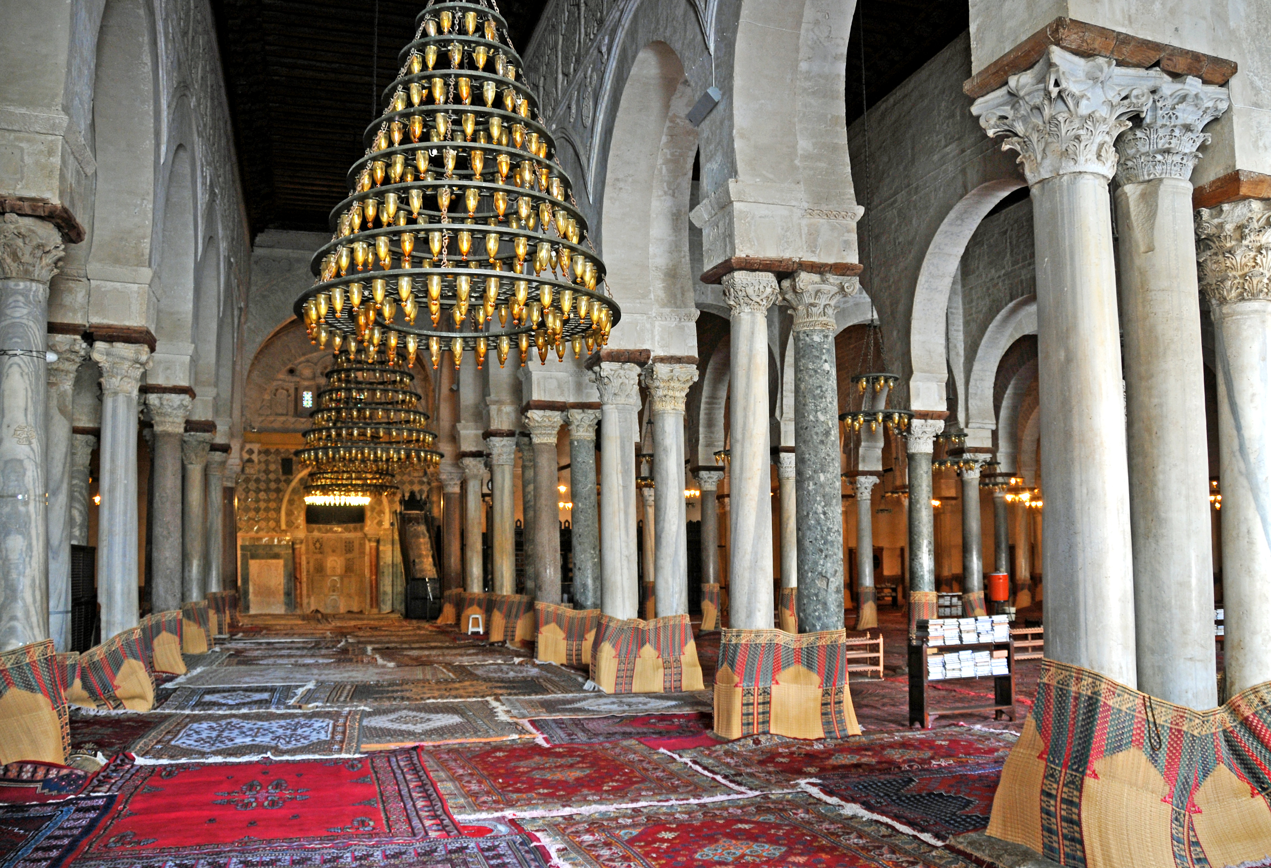 The most beautiful mosques to visit: Prayer Hall at the Great Mosque of Kairouan, Tunisia.