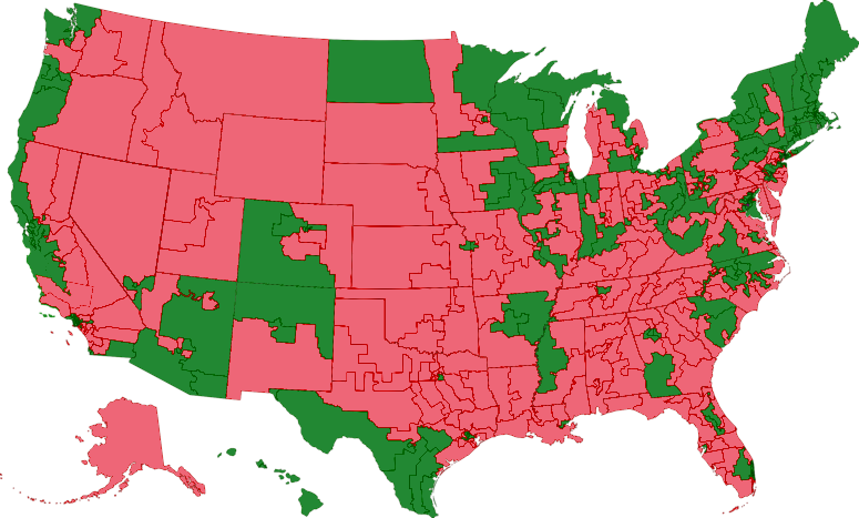 House voting map for H.R. 3962 where green indicates a 'Yes' and red a 'No'.