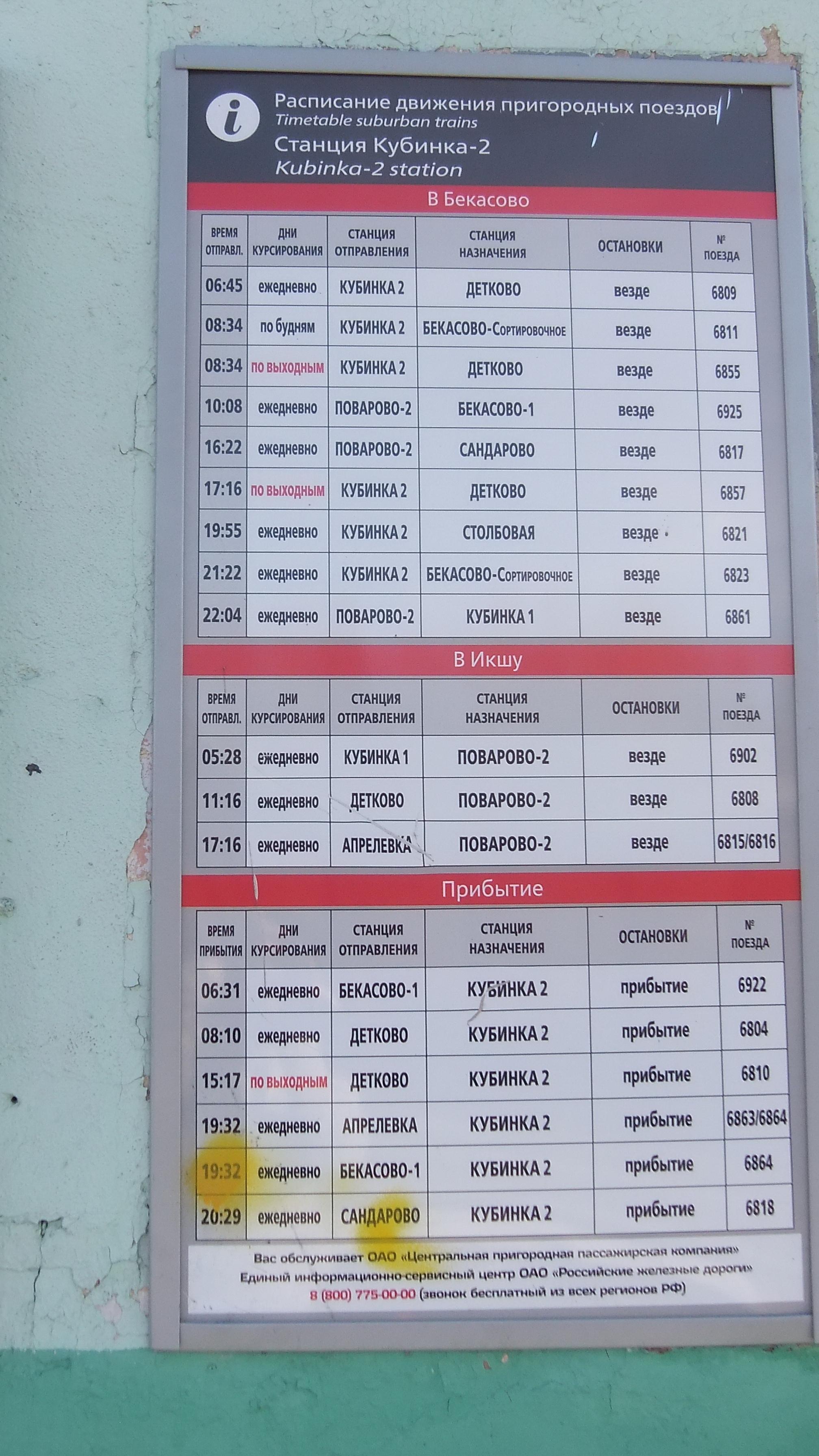 Расписание электричек от белорусского вокзала до кубинки