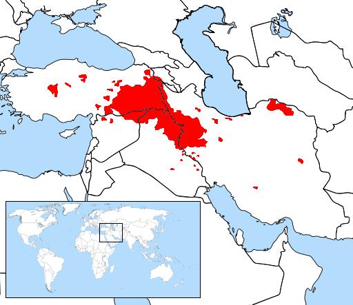 Kurdish Speaking Areas in Red
