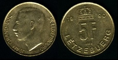 Coin of the former Luxembourg franc in two of the country's three languages: French (obverse, left) and Luxembourgish (reverse, right) LUX-5f2.jpg
