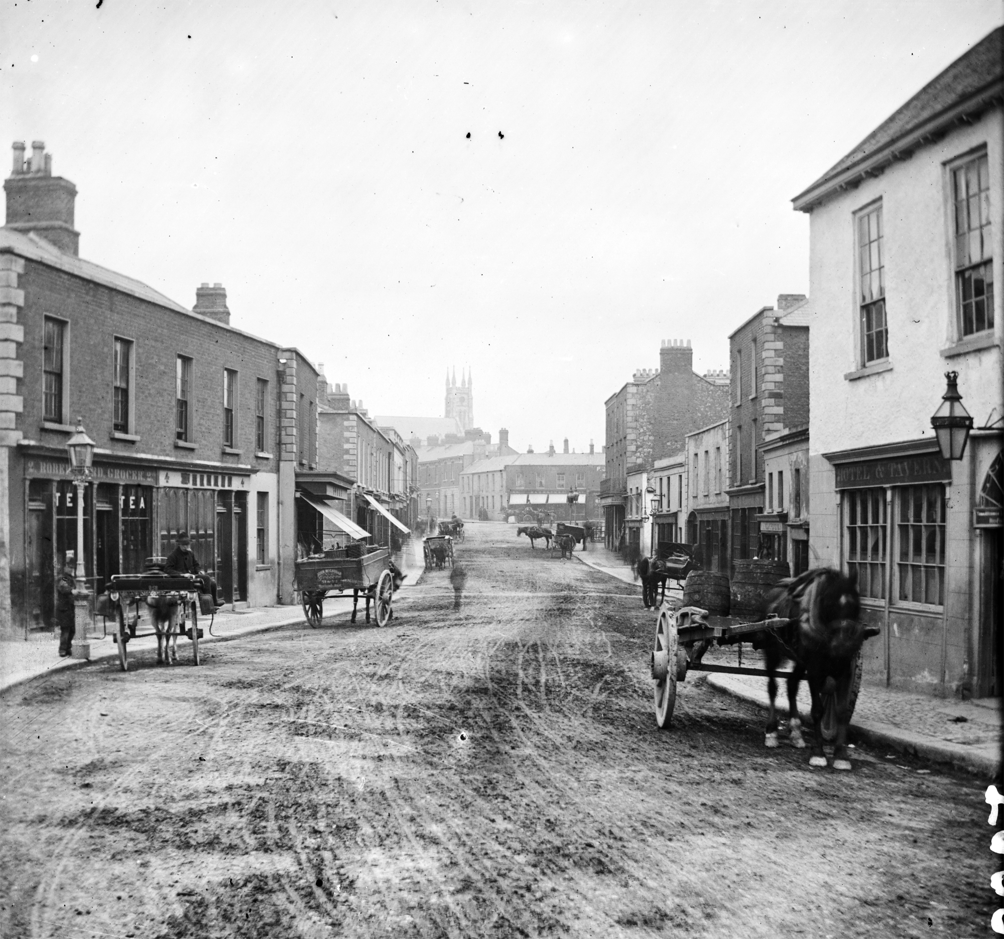 File:Main Street Blackrock, Co Dublin Late 1800s Facing