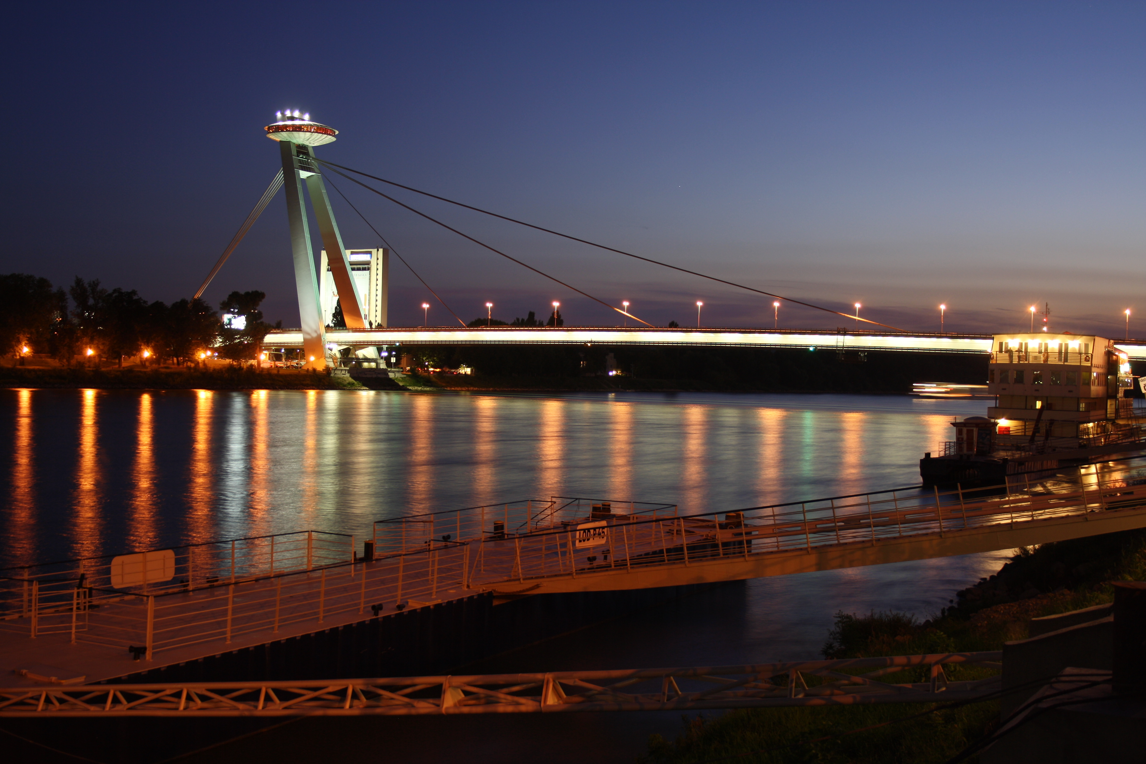 File:Night shot of port and Nový most in Bratislava ...
