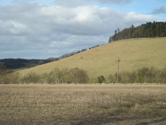 Over the fields to a hill - geograph.org.uk - 706882
