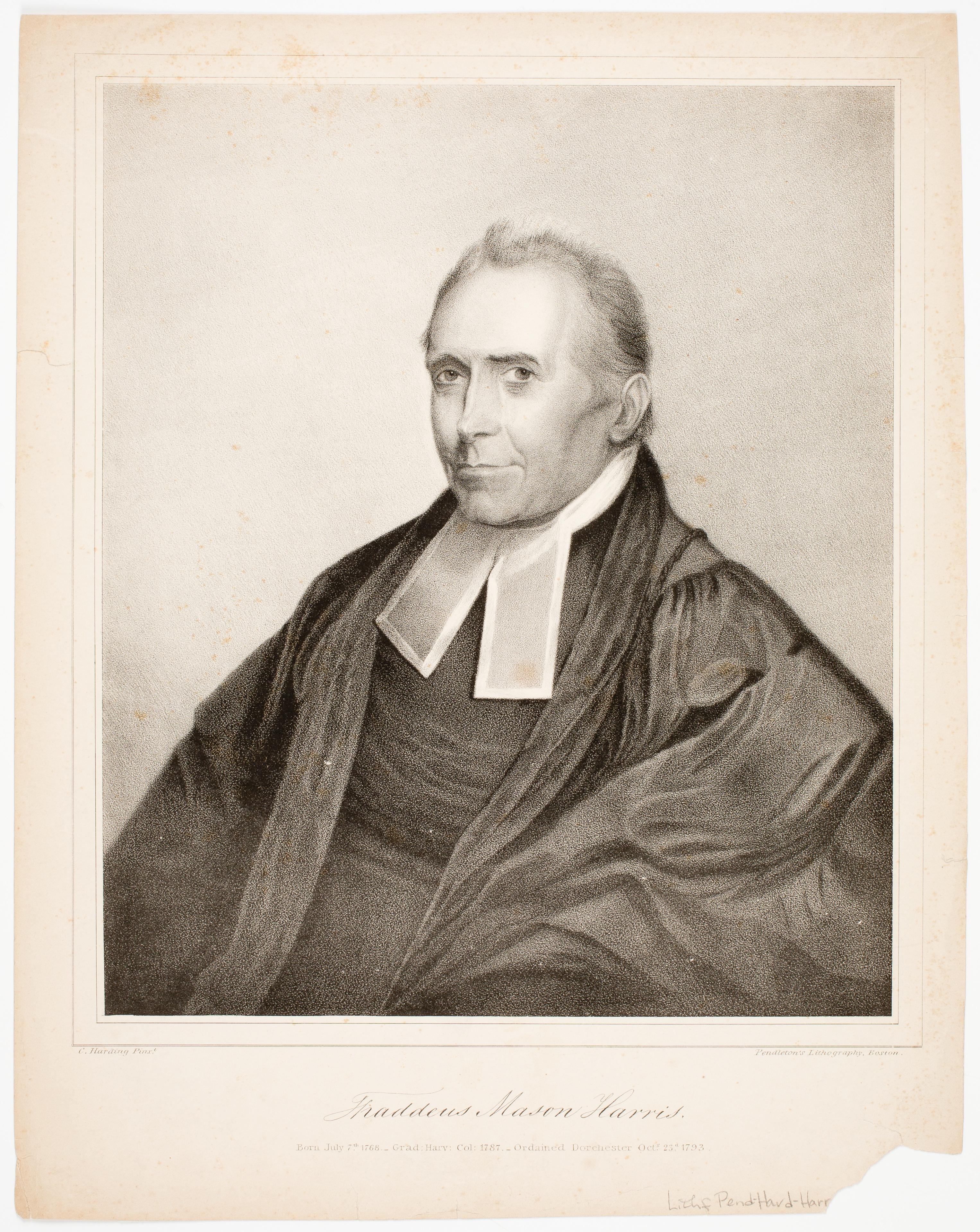 Lithograph of Thaddeus Mason Harris, circa 1830