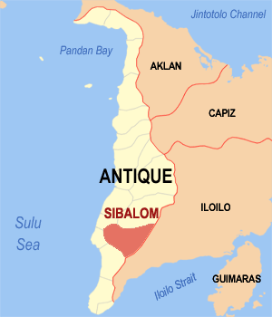 Map of Antique showing the location of Sibalom