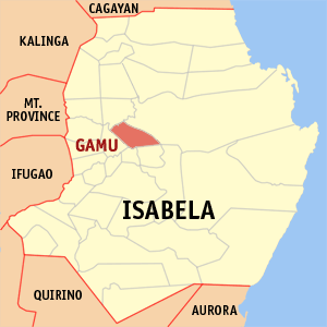 Map of Isabela showing the location of Gamu