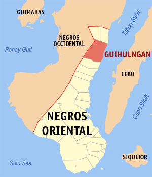 Map of Negros Oriental showing the location of Guihulngan