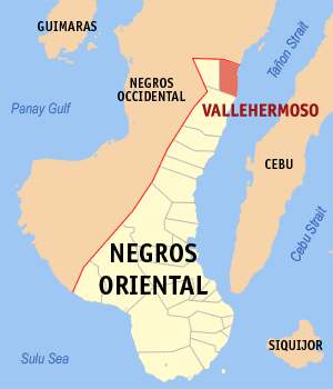 Map of Negros Oriental showing the location of Vallehermoso