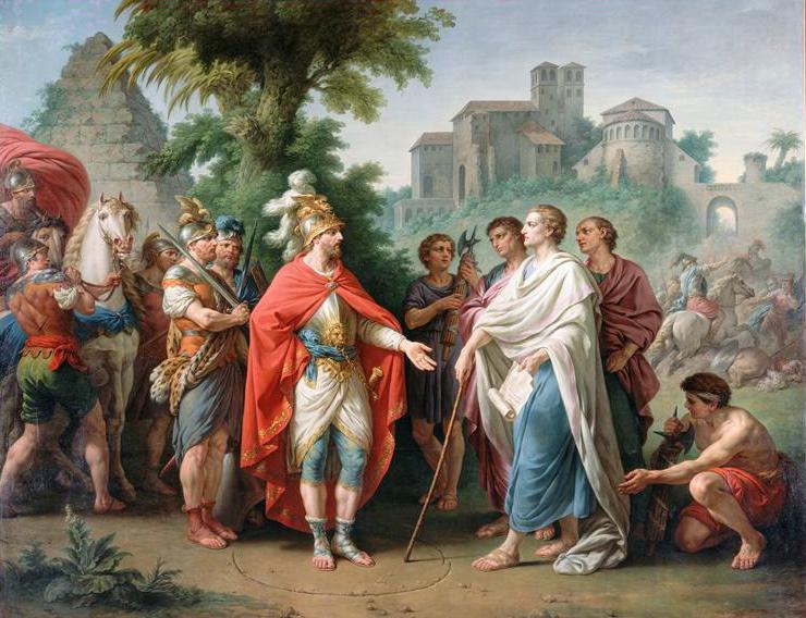 Popilius envoyé en ambassade auprès d'Antiochus Epiphane pour arrêter le cours de ses ravages en Egypte