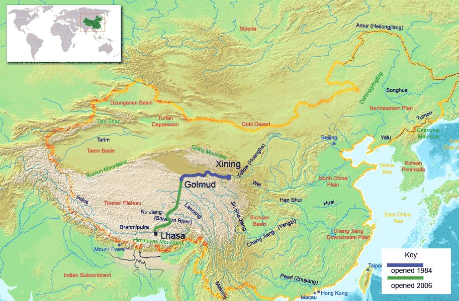 西宁到拉萨铁路图