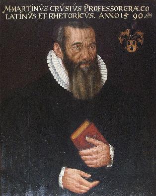 Portrait of Crusius Bildnis, copy of an original painting by [[Anton Ramsler