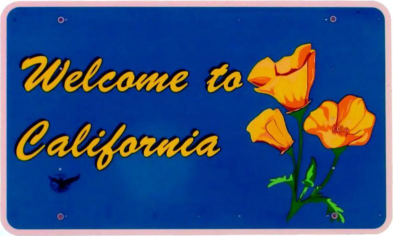 "Image of sign with ""Welcome to California"" and picture of poppy"