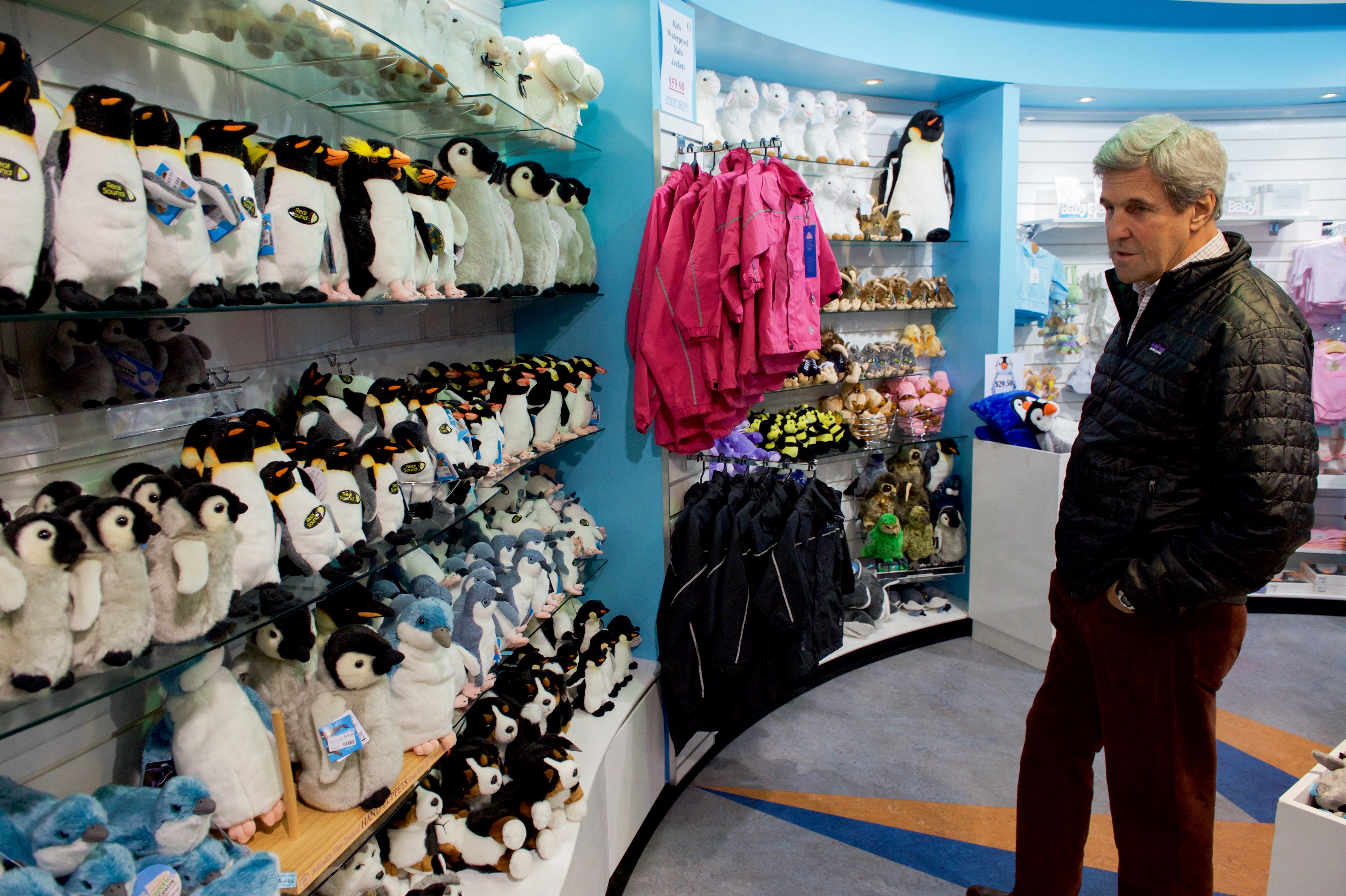 File:Secretary Kerry Looks Over Toy Penguins in a Gift Shop at the ...