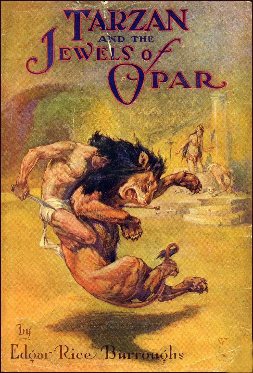book-jacket for Tarzan and the Jewels of Opar, illustration by J. Allen St. John c. 1916