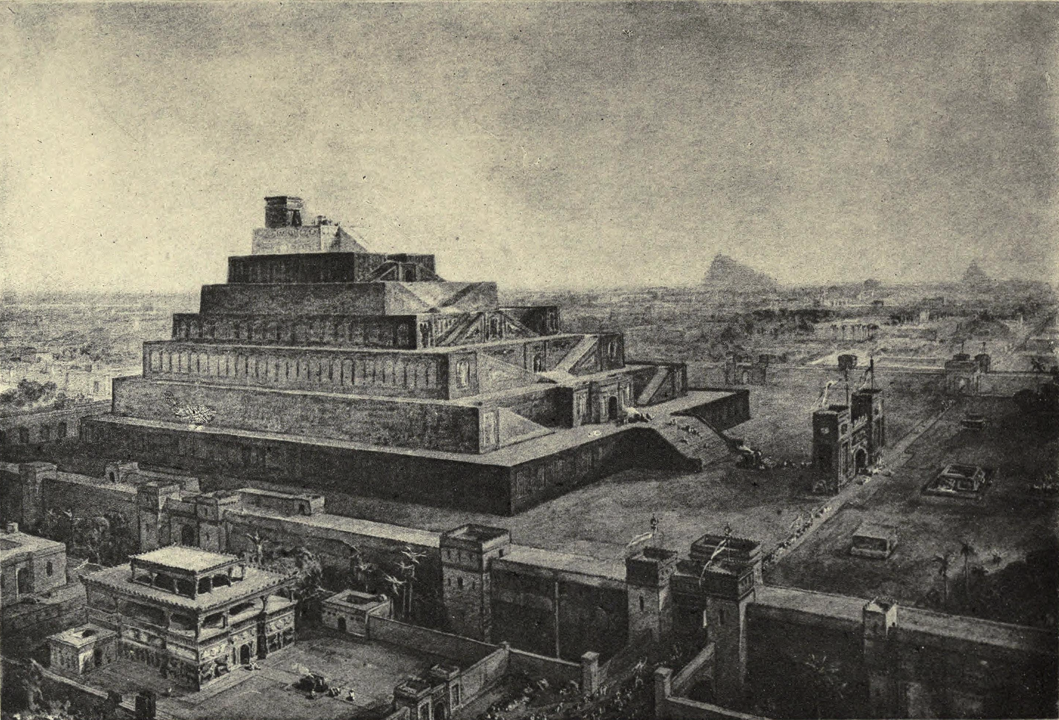 """""""The Walls of Babylon and the Temple of Bel (Or Babel)"""", by 19th-century illustrator William Simpson— influenced by early archaeological investigations."""