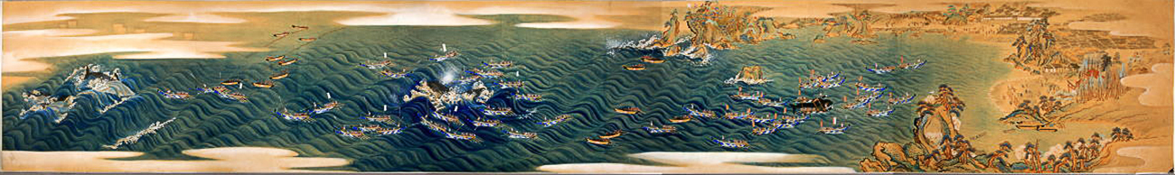 Japanese narrative screen showing a whale hunt off Wakayama