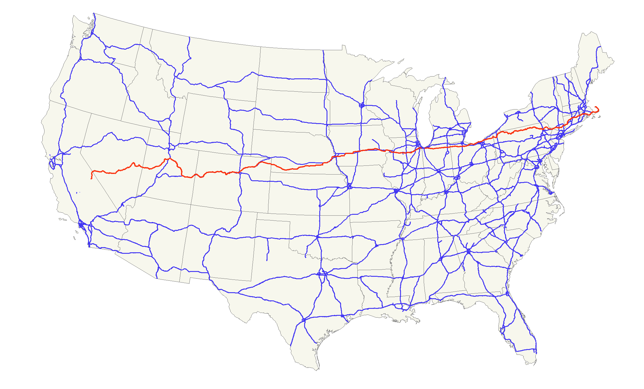 Us State Road Map - Us interstate map states