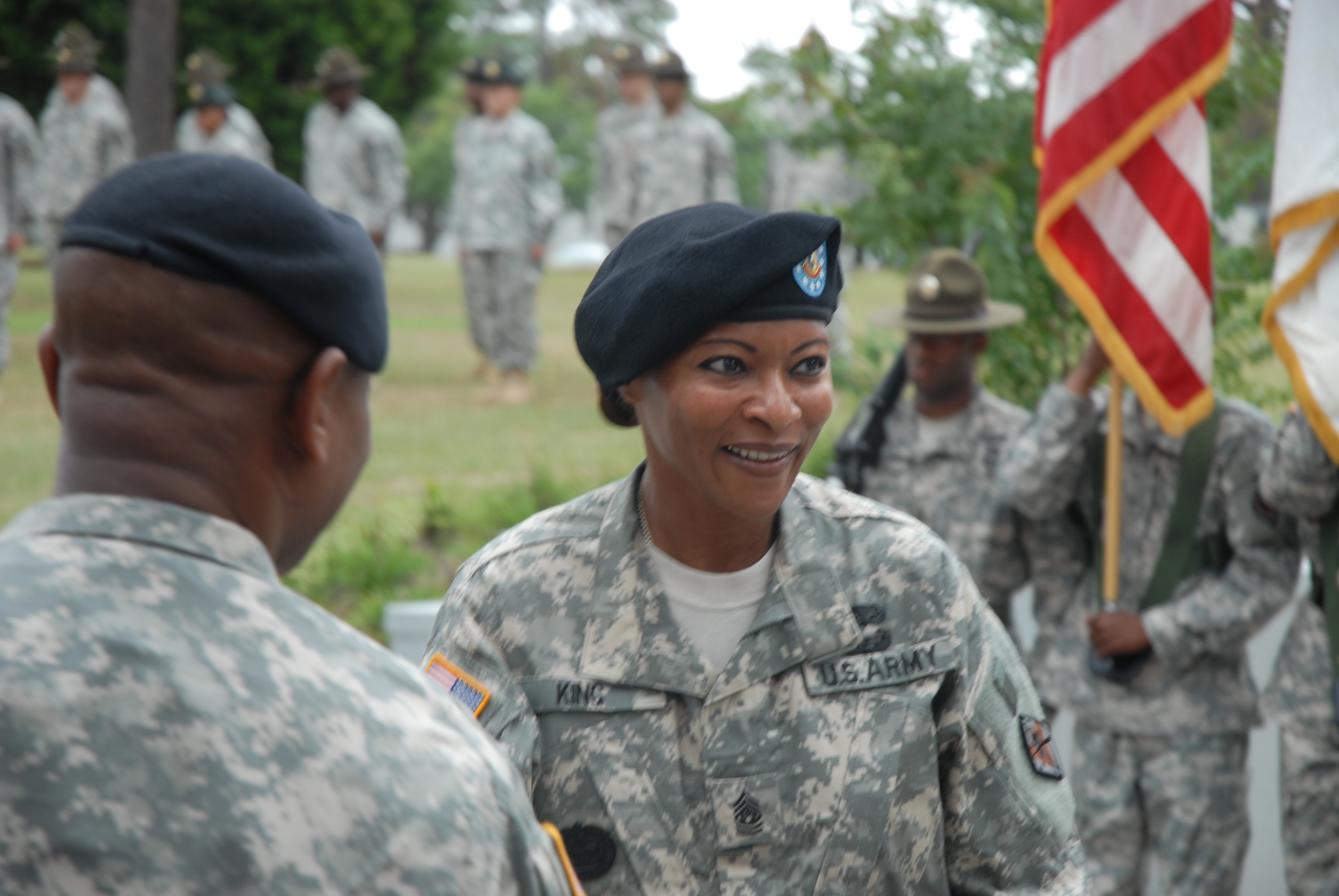 Command Sergeant Major Teresa King at the change of responsibility ceremony taking over as commandant of the Drill Sergeant School, September 2009