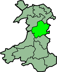 Montgomeryshire is sometimes included in North Wales WalesMontgomeryshireTrad.png