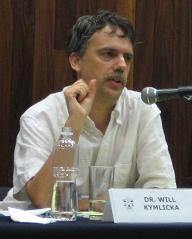 Will Kymlicka lecturing at the [[University of Guadalajara]], Mexico, in 2007