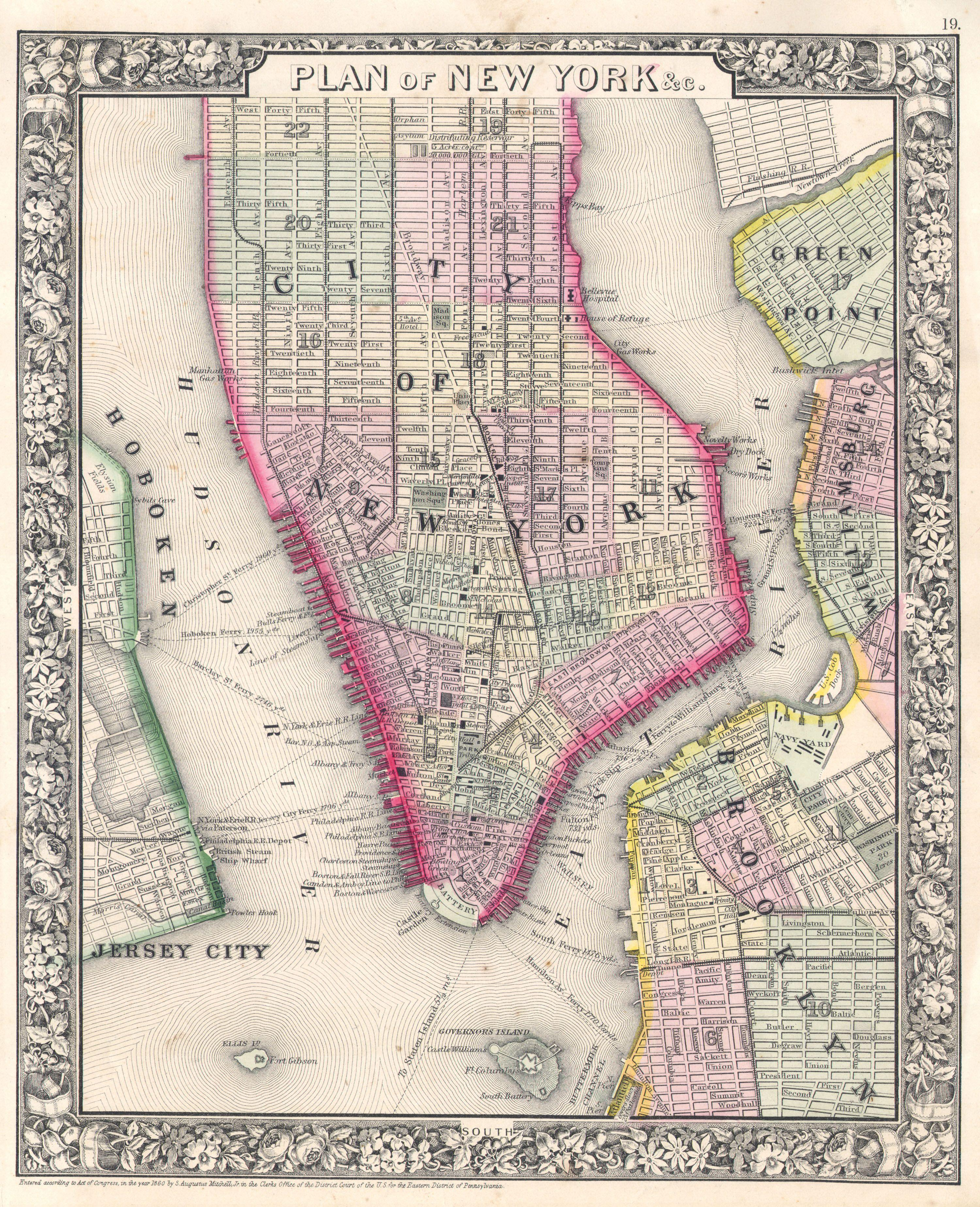 File1864 Mitchell Map of New York City New York Geographicus – Map of New York City New York