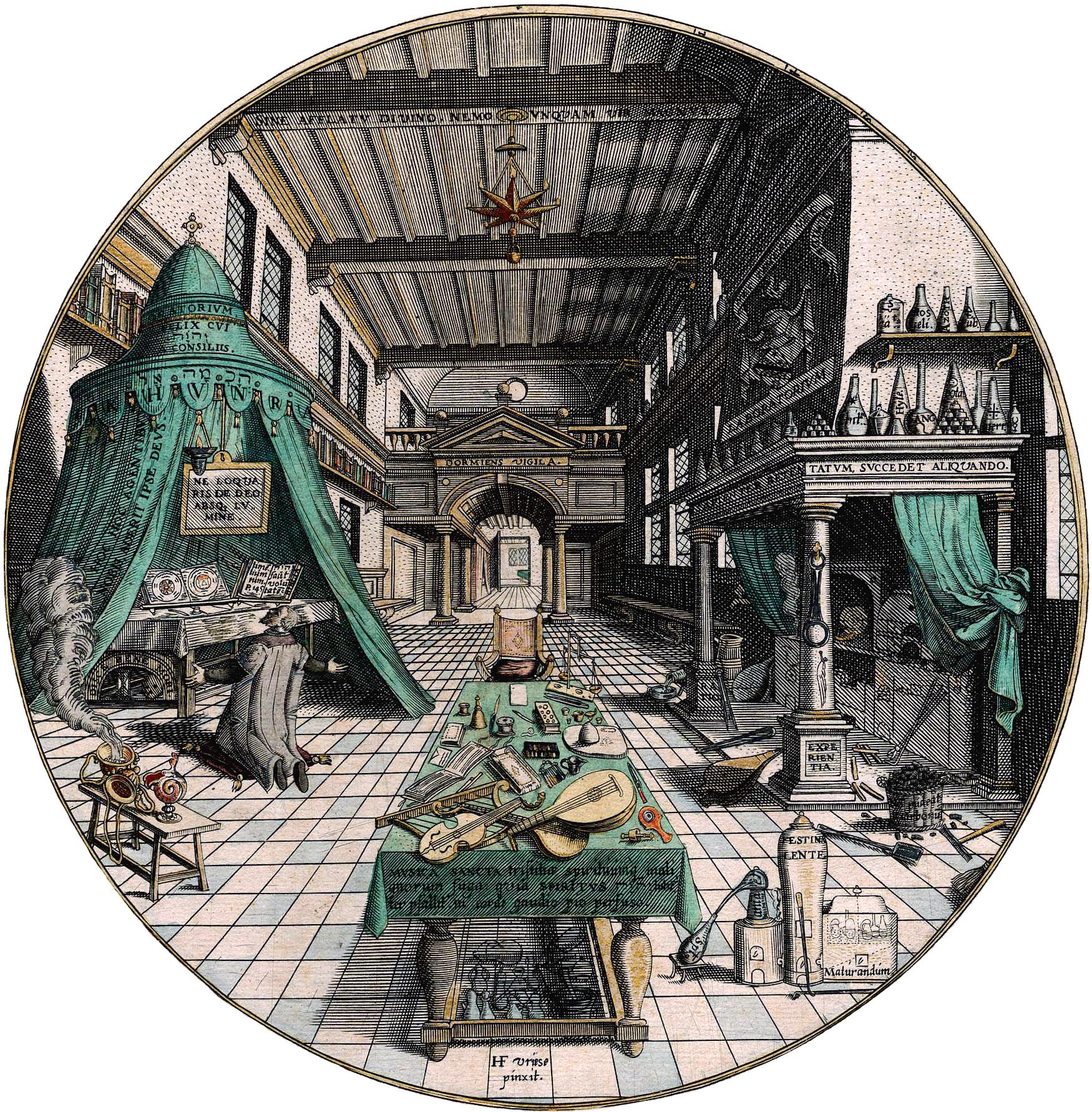 Alchemist's Lab, Vredeman Hans de Vries, around 1595.