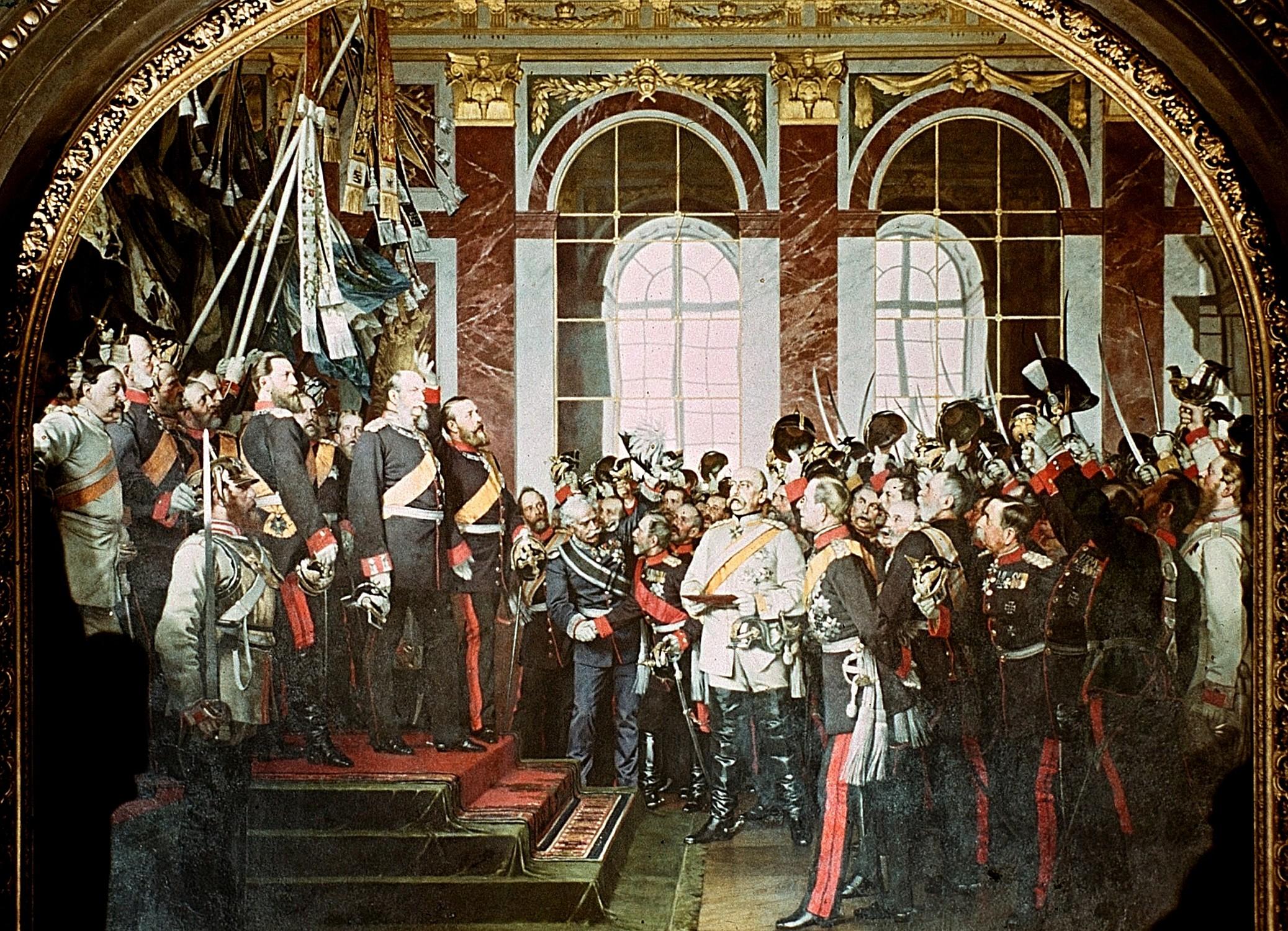 Die Proklamation des Deutschen Kaiserreiches (18. Januar 1871), zweite Fassung des Gemäldes für das Berliner Zeughaus von Anton von Werner, 1882
