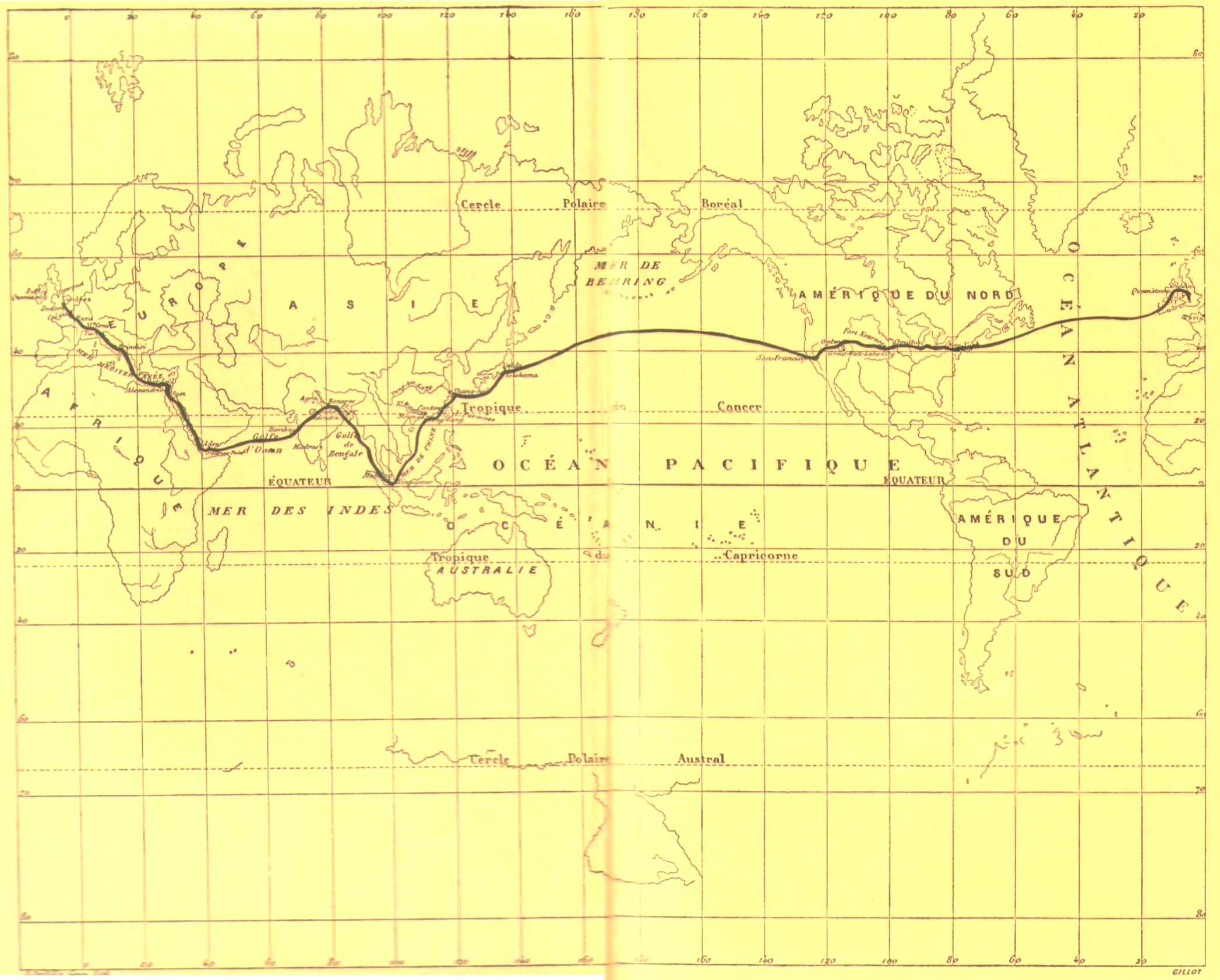 Map of Phileas Fogg\'s itinerary from Jules Verne\'s \