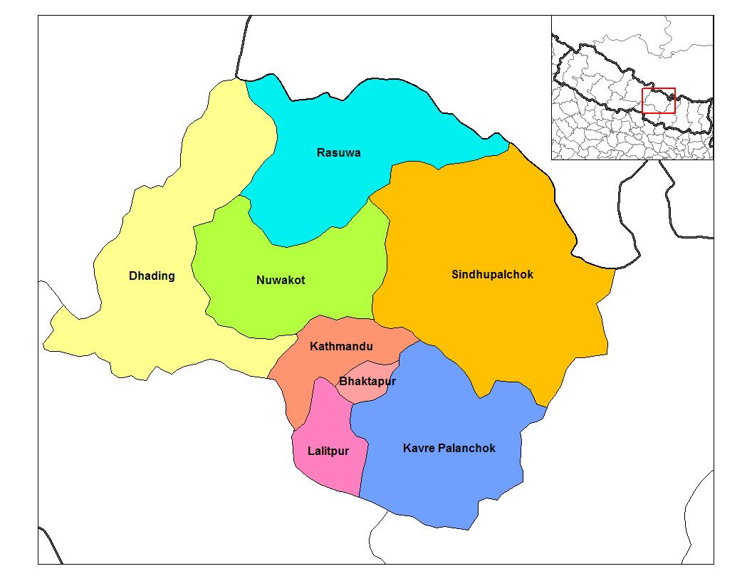ヌワコット郡(Nuwakot)の位置