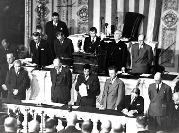 House Chaplain Bernard Braskamp delivering the opening prayer for the 80th Congress, 1947