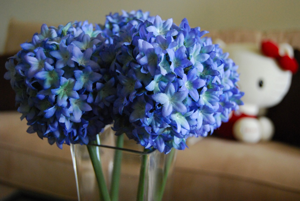 File Blue Flowers In Glass Vase Hello Kitty On Couch In Background Jpg Wikimedia Commons