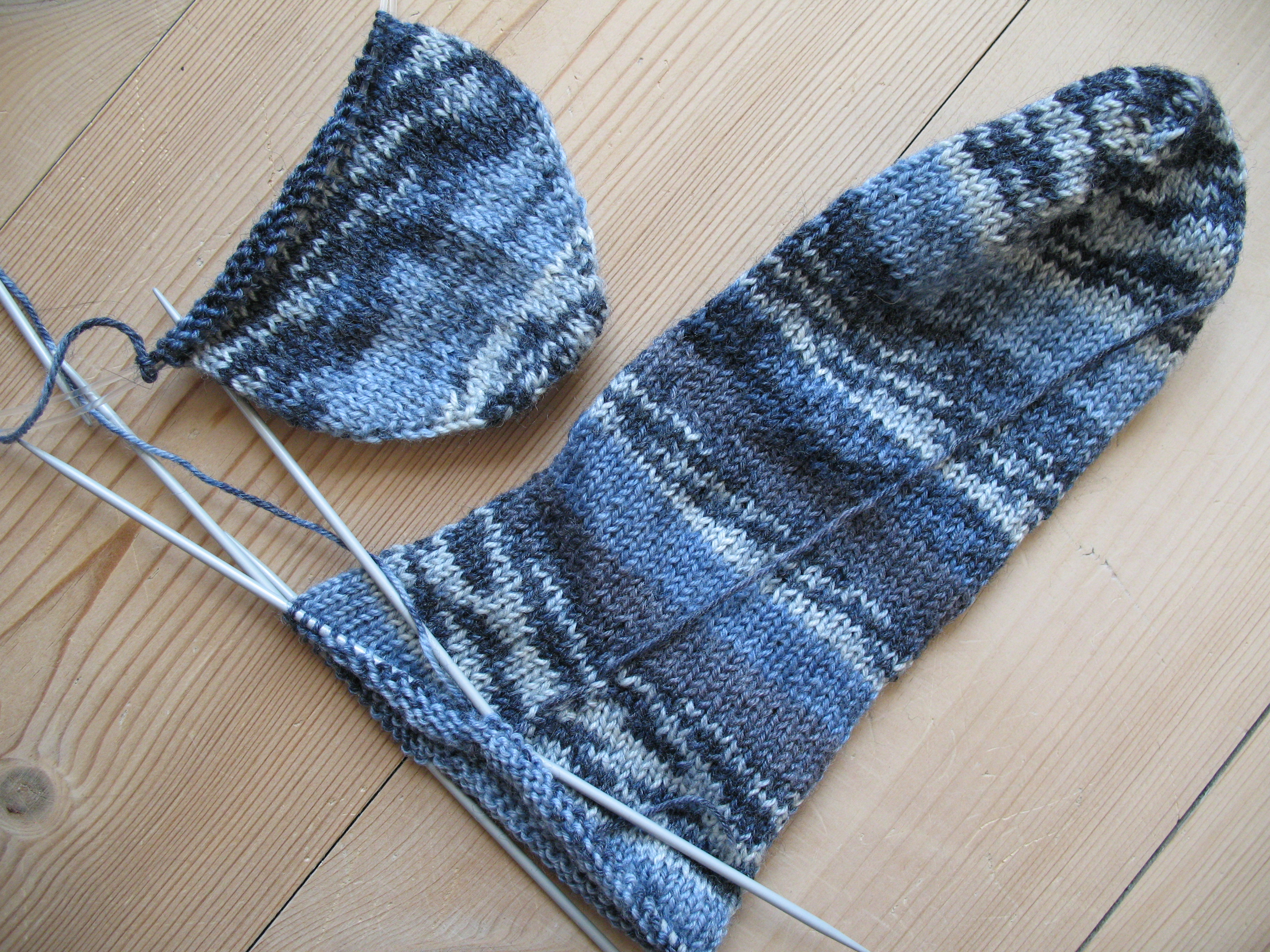 Description Blue socks, knitting in progress.jpg