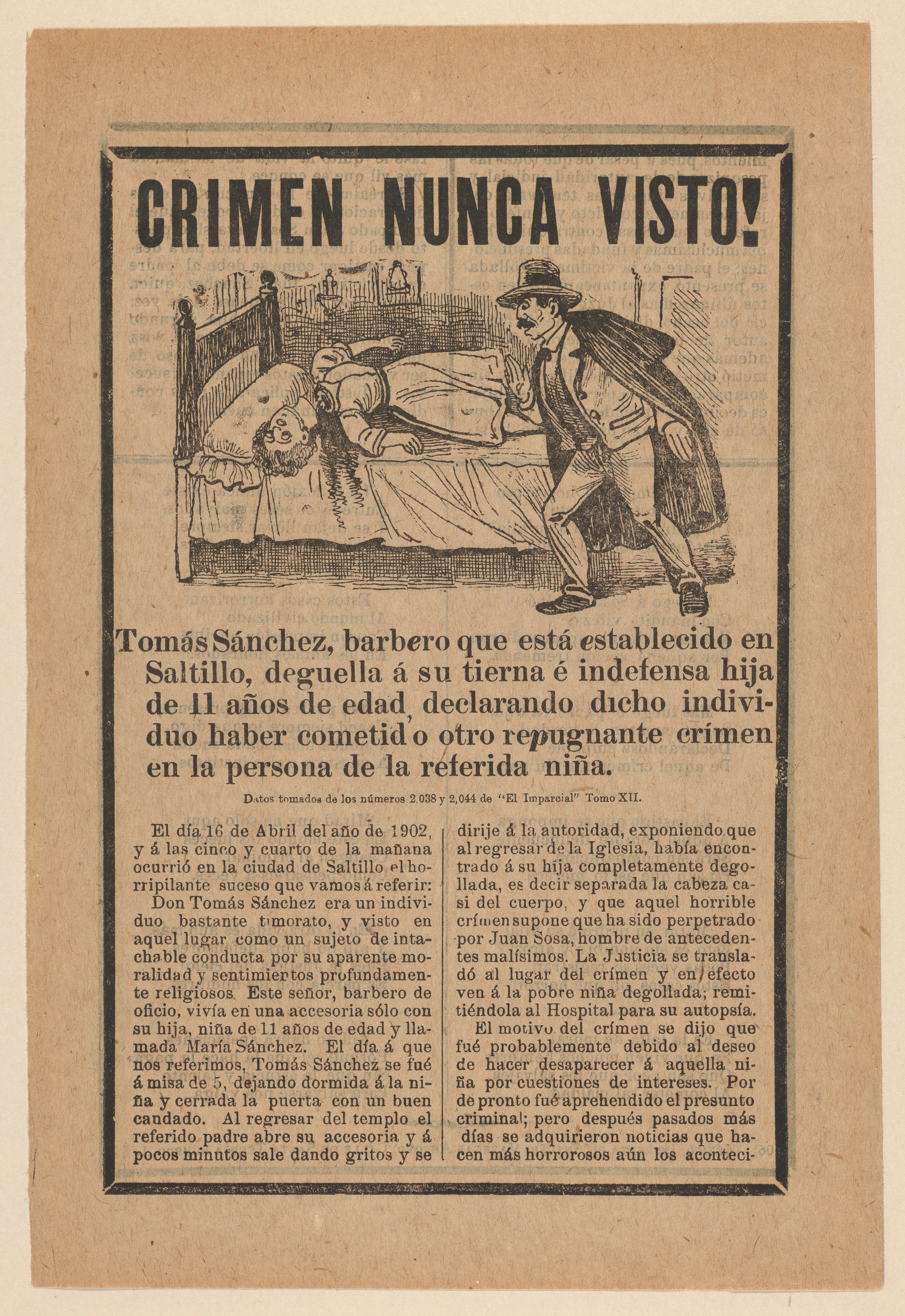 Broadsheet relating to a young girl who was beheaded while she was left home alone by her father, Tom%C3%A1s S%C3%A1nchez MET DP868017.jpg