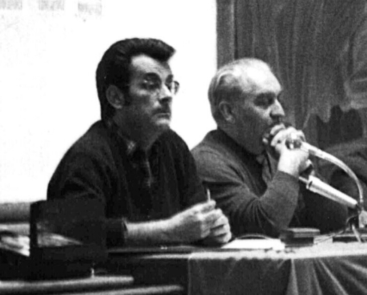 Broué (on left, wearing glasses) seen circa 1970