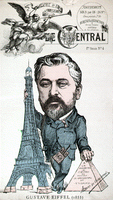 Caricature of Gustave Eiffel comparing the Eiffel tower to the Pyramids
