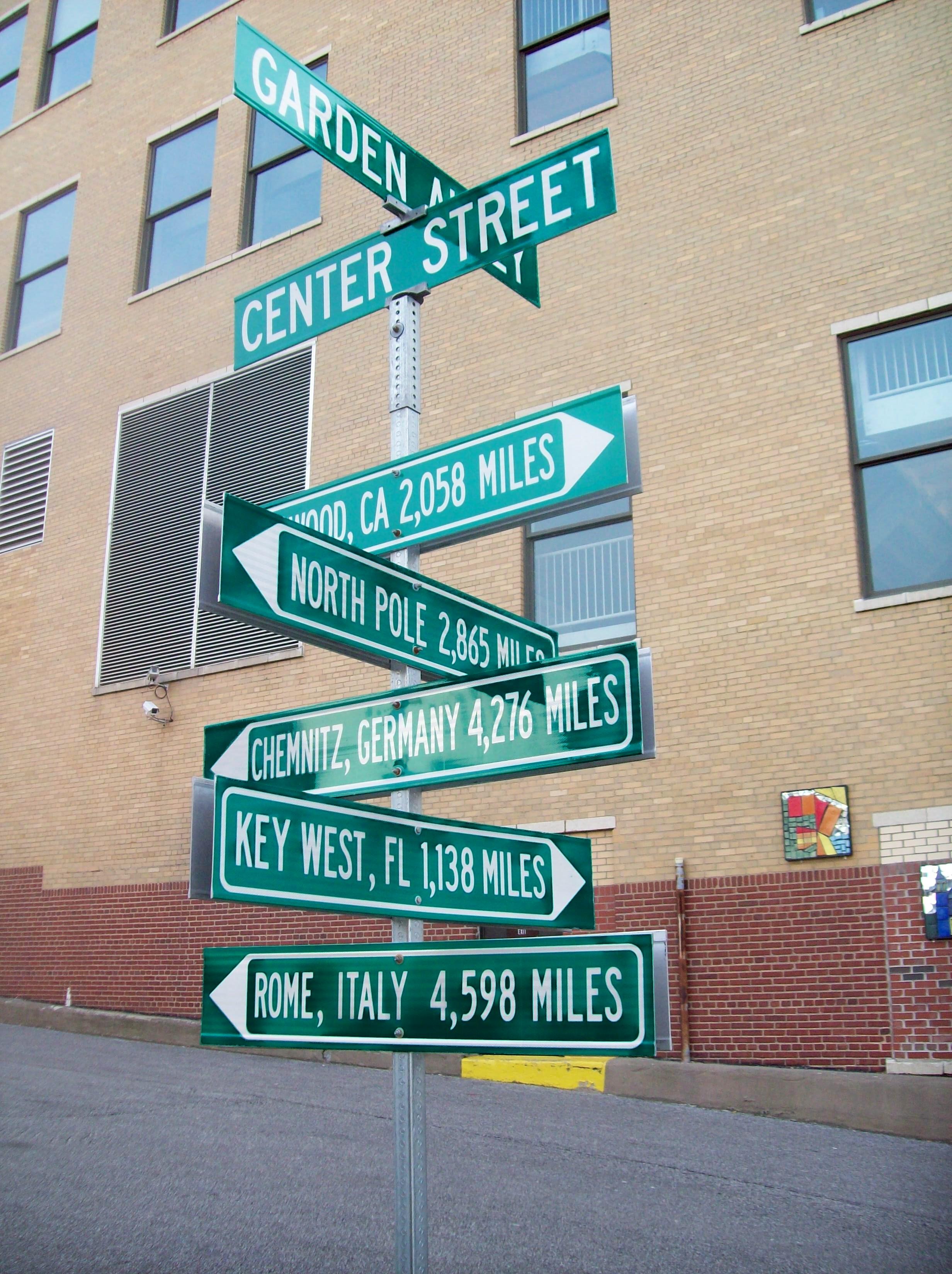 Global street sign Akron Ohio Familypedia