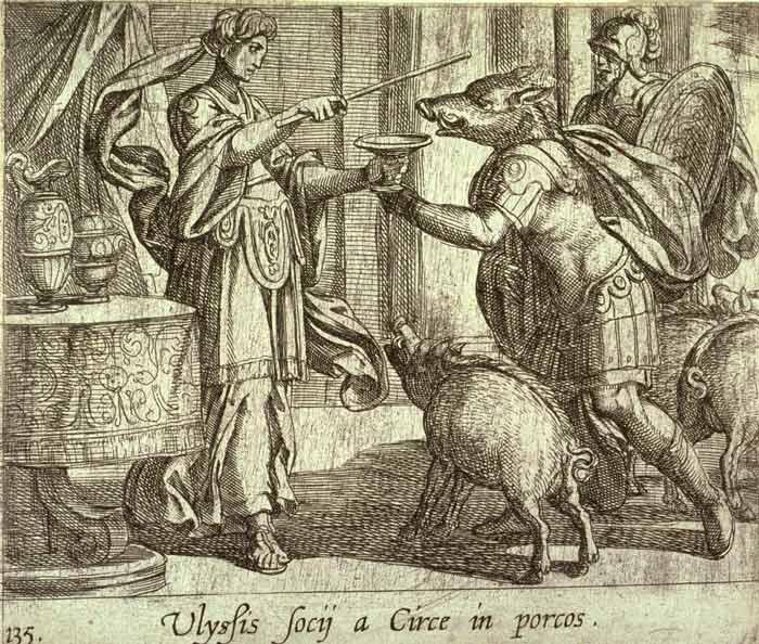 An image of Circe turning Odysseus' men into swine.