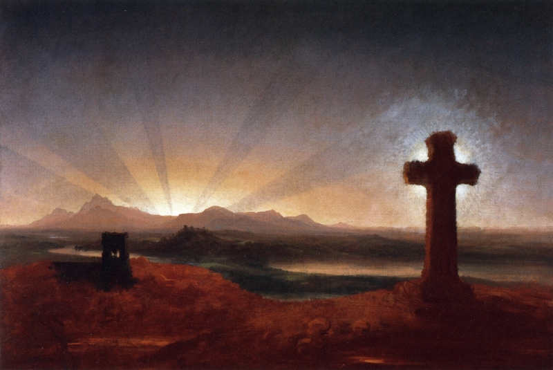 Cole, Thomas - Cross at Sunset - c. 1848