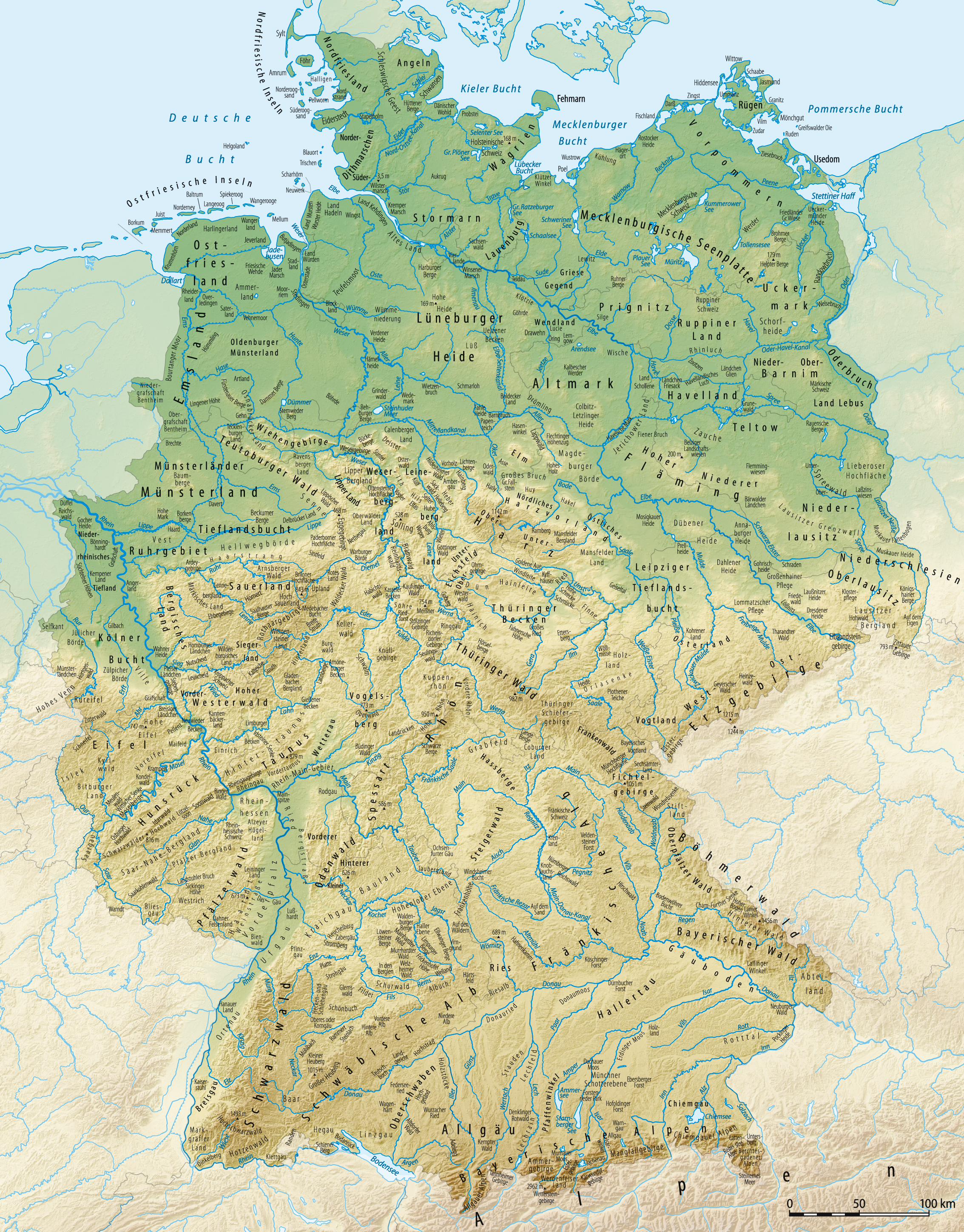 Immagini Cartina Fisica Germania.Germania Wikipedia