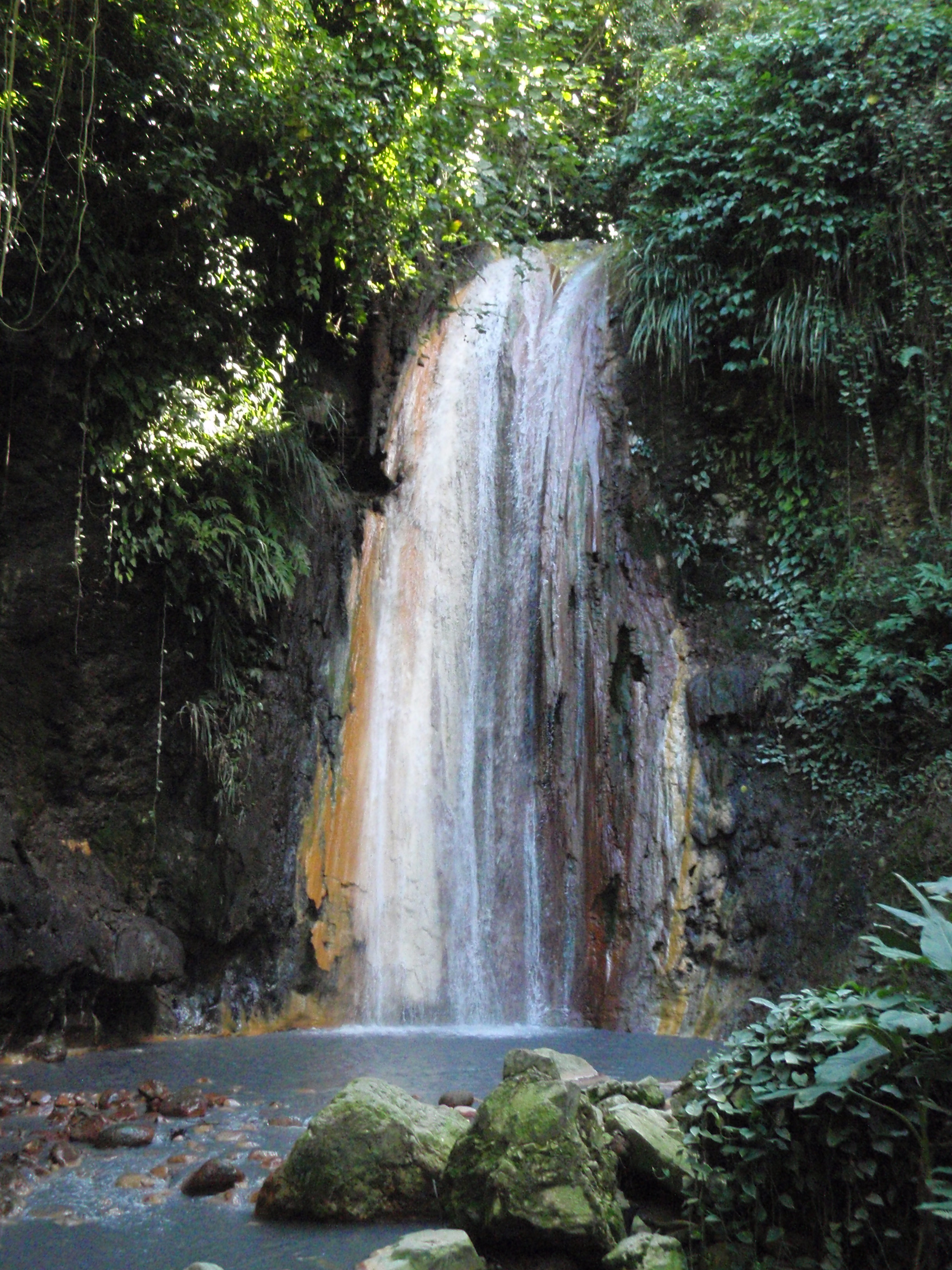Diamond Falls in Diamond Botanical Gardens, St Lucia #travelclans #stlucia #wanderlust #doyoutravel #travelmore #goexplore #wonderfulplaces #lovetotravel #seekmoments #getoutstayout #beachbum #tropicalisland #lovetheocean #foreversummer