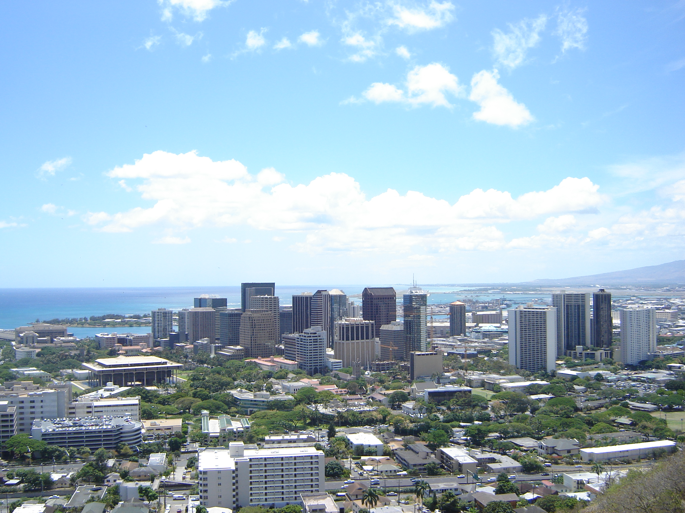 downtown Honolulu showing a cluster of 10–30 story buildings