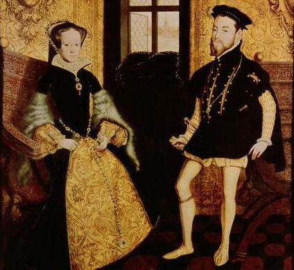 Philip and Mary I, during whose reign Elizabeth was heir presumptive Felipe of Spain and MariaTudor-2010-13-09.jpg
