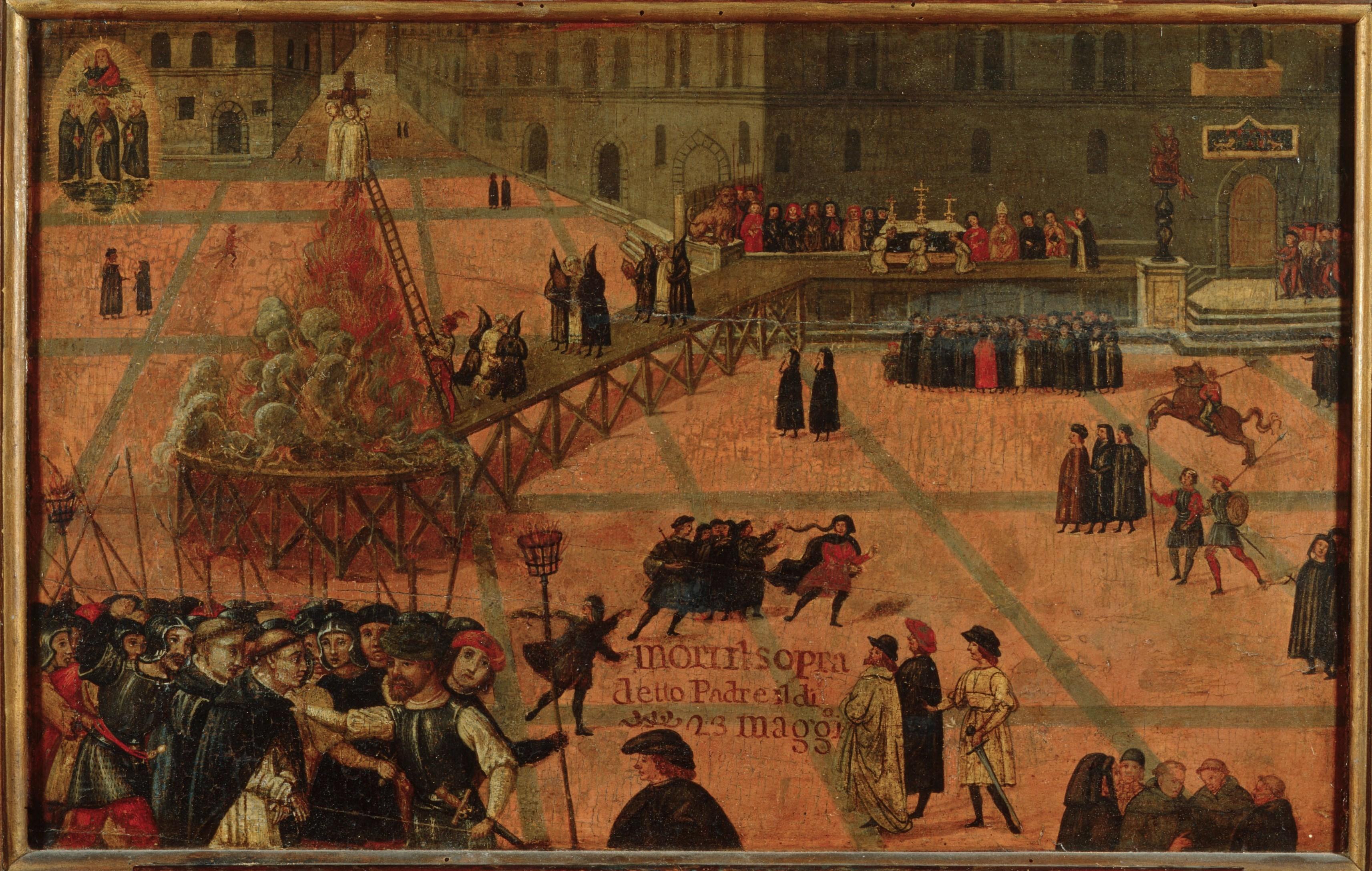 Filippo Dolciati (1443 - 1519) Execution of Girolamo Savonarola. 1498, Florence, Museo di San Marco.jpg