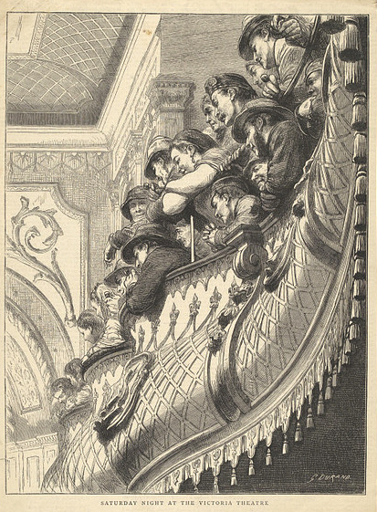 Saturday night audience at the Victoria Theatre. London (1872)