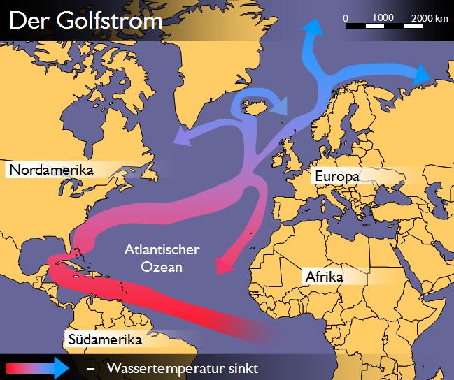 Golfstrom-Abschaltung mit Folgen Golfstromkreislauf vor der Abschaltung<br><small>Quelle: http://upload.wikimedia.org/wikipedia/commons/7/7f/Golfstrom_Karte_2.png</small>