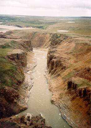 Hornaday River and canyon in Tuktut Nogait National Park, place in the Northwest Territories