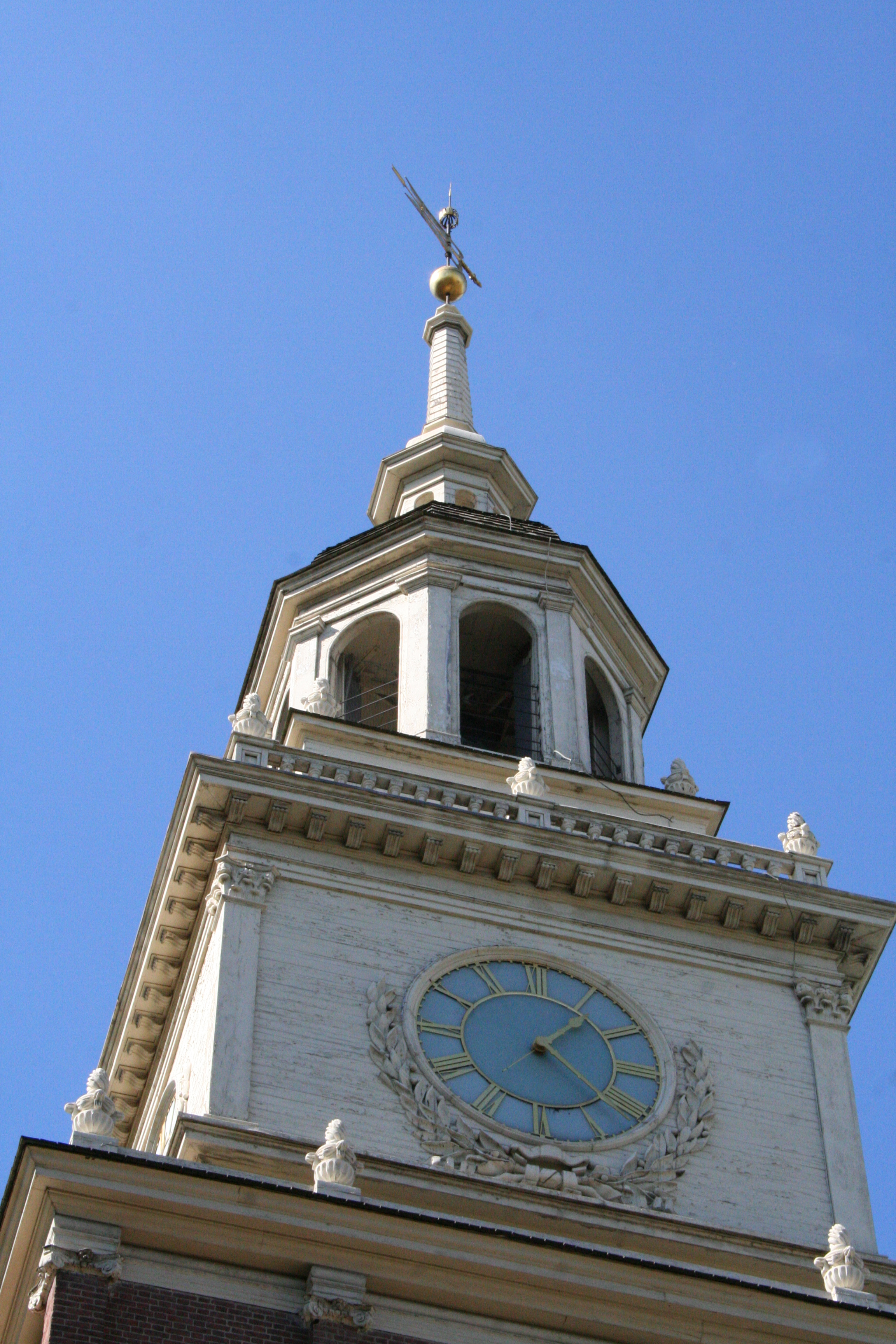 Belltower at Independence Hall in Philadelphia in the Commonwealth of Pennsylvania